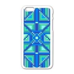Grid Geometric Pattern Colorful Apple iPhone 6/6S White Enamel Case