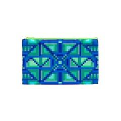 Grid Geometric Pattern Colorful Cosmetic Bag (xs)