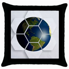 Hexagon Diamond Earth Globe Throw Pillow Case (black)