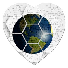 Hexagon Diamond Earth Globe Jigsaw Puzzle (Heart)