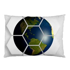Hexagon Diamond Earth Globe Pillow Case