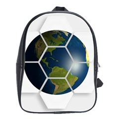 Hexagon Diamond Earth Globe School Bags(large)