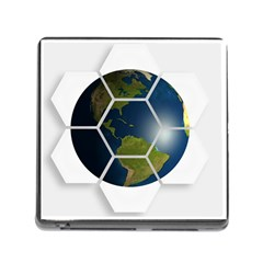 Hexagon Diamond Earth Globe Memory Card Reader (square)
