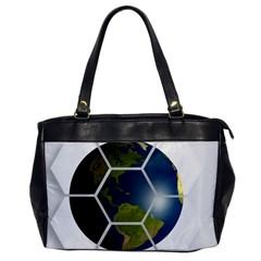 Hexagon Diamond Earth Globe Office Handbags