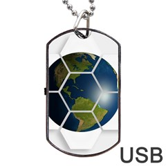 Hexagon Diamond Earth Globe Dog Tag Usb Flash (two Sides)