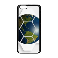 Hexagon Diamond Earth Globe Apple iPhone 6/6S Black Enamel Case