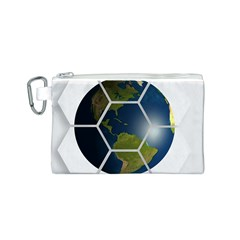 Hexagon Diamond Earth Globe Canvas Cosmetic Bag (S)
