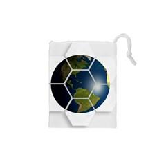 Hexagon Diamond Earth Globe Drawstring Pouches (XS)