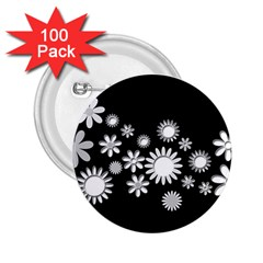 Flower Power Flowers Ornament 2 25  Buttons (100 Pack)