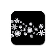 Flower Power Flowers Ornament Rubber Coaster (Square)