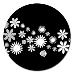 Flower Power Flowers Ornament Magnet 5  (Round)