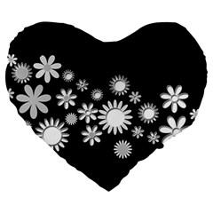 Flower Power Flowers Ornament Large 19  Premium Heart Shape Cushions