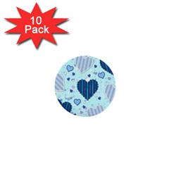 Hearts Pattern Paper Wallpaper 1  Mini Buttons (10 Pack)