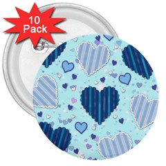 Hearts Pattern Paper Wallpaper 3  Buttons (10 pack)