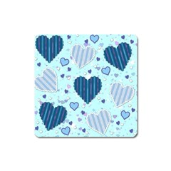 Hearts Pattern Paper Wallpaper Square Magnet