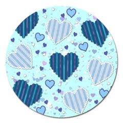 Hearts Pattern Paper Wallpaper Magnet 5  (Round)