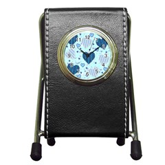 Hearts Pattern Paper Wallpaper Pen Holder Desk Clocks