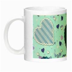 Hearts Pattern Paper Wallpaper Night Luminous Mugs