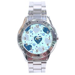 Hearts Pattern Paper Wallpaper Stainless Steel Analogue Watch