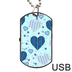 Hearts Pattern Paper Wallpaper Dog Tag USB Flash (One Side)