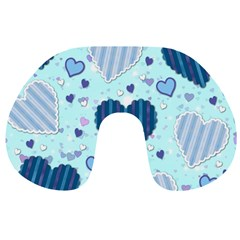 Hearts Pattern Paper Wallpaper Travel Neck Pillows