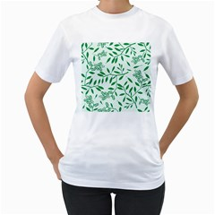 Leaves Foliage Green Wallpaper Women s T Shirt (white) (two Sided)