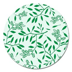 Leaves Foliage Green Wallpaper Magnet 5  (round)