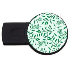 Leaves Foliage Green Wallpaper USB Flash Drive Round (1 GB)