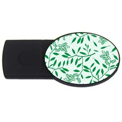 Leaves Foliage Green Wallpaper USB Flash Drive Oval (2 GB)