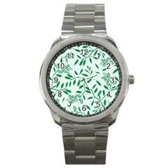 Leaves Foliage Green Wallpaper Sport Metal Watch