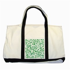 Leaves Foliage Green Wallpaper Two Tone Tote Bag