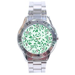 Leaves Foliage Green Wallpaper Stainless Steel Analogue Watch