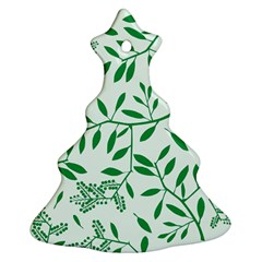 Leaves Foliage Green Wallpaper Christmas Tree Ornament (Two Sides)