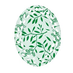 Leaves Foliage Green Wallpaper Oval Filigree Ornament (Two Sides)