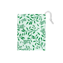 Leaves Foliage Green Wallpaper Drawstring Pouches (Small)