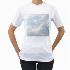 Light Nature Sky Sunny Clouds Women s T Shirt (white) (two Sided)