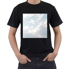 Light Nature Sky Sunny Clouds Men s T-Shirt (Black) (Two Sided)