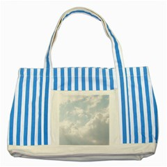 Light Nature Sky Sunny Clouds Striped Blue Tote Bag