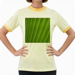 Green Leaf Pattern Plant Women s Fitted Ringer T Shirts