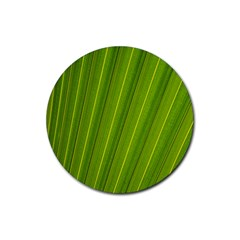 Green Leaf Pattern Plant Rubber Coaster (round)