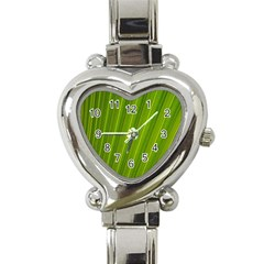 Green Leaf Pattern Plant Heart Italian Charm Watch