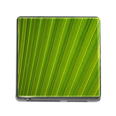 Green Leaf Pattern Plant Memory Card Reader (square)