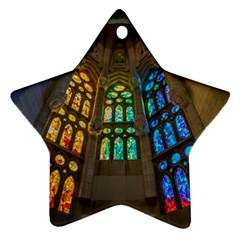Leopard Barcelona Stained Glass Colorful Glass Ornament (Star)