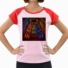 Leopard Barcelona Stained Glass Colorful Glass Women s Cap Sleeve T Shirt