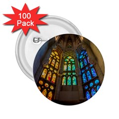 Leopard Barcelona Stained Glass Colorful Glass 2.25  Buttons (100 pack)