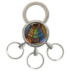 Leopard Barcelona Stained Glass Colorful Glass 3-Ring Key Chains