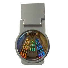 Leopard Barcelona Stained Glass Colorful Glass Money Clips (Round)