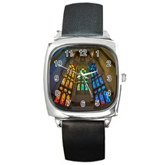 Leopard Barcelona Stained Glass Colorful Glass Square Metal Watch