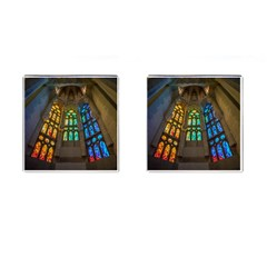 Leopard Barcelona Stained Glass Colorful Glass Cufflinks (Square)
