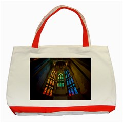 Leopard Barcelona Stained Glass Colorful Glass Classic Tote Bag (Red)
